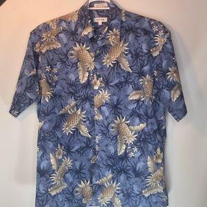 Vtg Pierre Cardin Hawaiian Shirt Pineapples Mens L